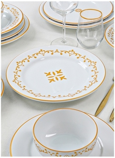 Keramika Keramika Riva Beyaz Gold Yemek Takımı 24 Parça 6 Kişilik Renkli
